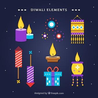 Set diwali elemente in flachem design