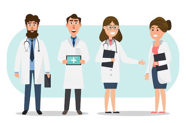 Set doktor- und krankenschwesterzeichentrickfilm-figuren