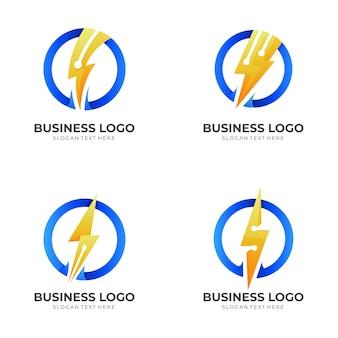Set donner-tech-logo, donner und technologie, kombinationslogo mit 3d-farbstil in blau und gelb