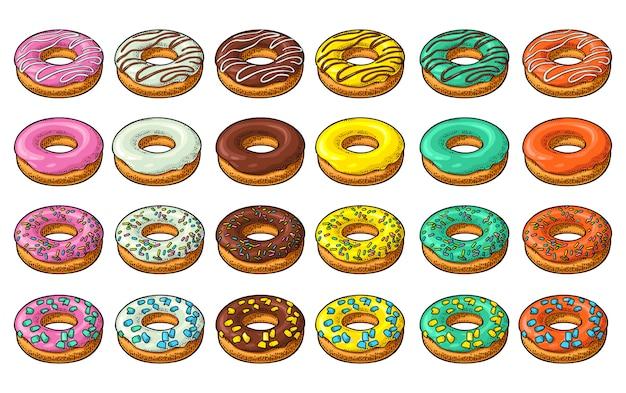 Set donut mit verschiedenen zuckerguss, glasur, streifen, streuseln.