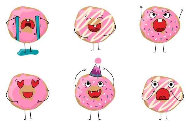 Set donuts mit verschiedenen emotionen
