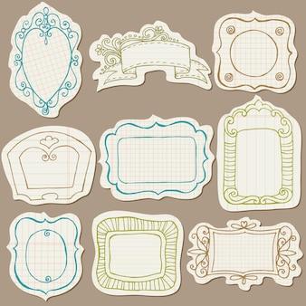 Set doodle frames auf zerrissenem papier - mit blumenelementen