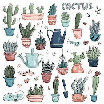Set doodle icons heimpflanzen in töpfen. süß gefütterte kakteen und saftig. aufkleber gartenarbeit.