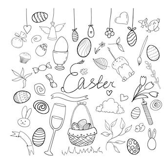 Set doodle ostern handzeichnungselemente vektor-illustration