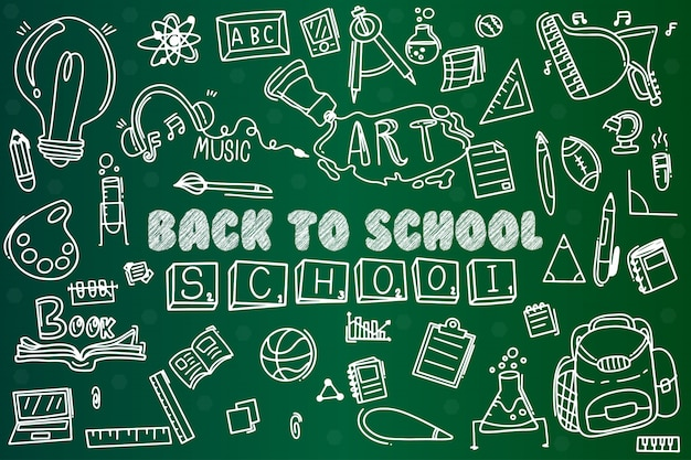 Set doodle zurück in die schule