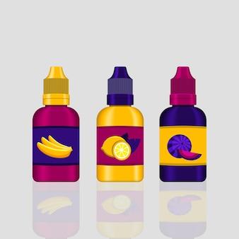 Set e-liquid zum dampfen. aromatisierte flüssigkeit für elektronische zigarette. realistische vektorillustration.