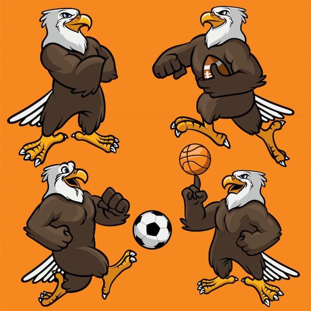 Set eagle sport maskottchen