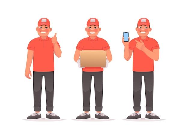 Set eines glücklichen zustellers der kurier zeigt ein cooles gestenpaket in den händen, das auf das telefon zeigt
