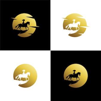 Set eines kleinen mädchens, das ein pferd auf dem mond reitet