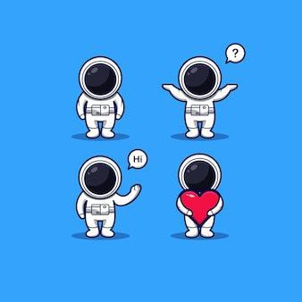 Set eines süßen astronauten mit ausdruck auf blauem hintergrund