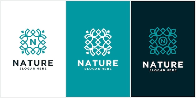 Set einfache natur blatt ornament logo design blumen logo