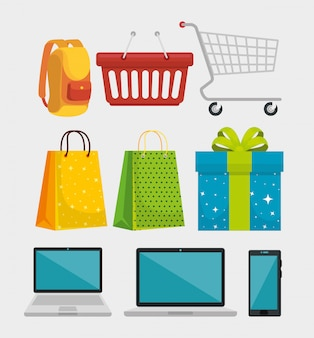 Set einkaufstaschen mit rucksack und smartphone