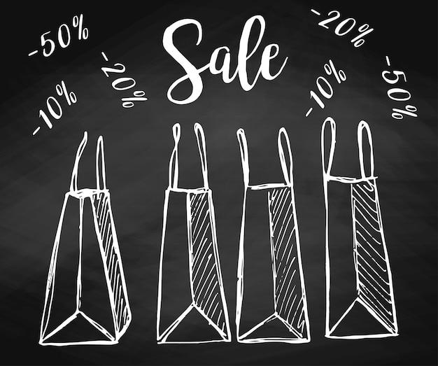 Set einkaufstüten an der tafel. vektorillustration eines skizzenstils. inschrift verkauf.