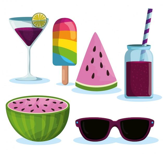 Set eis am stiel mit getränken und wassermelonenfrüchten