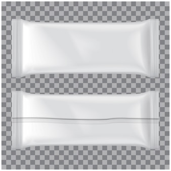 Set eiscreme-packung, weiße leere plastikbeutel-snackpackung