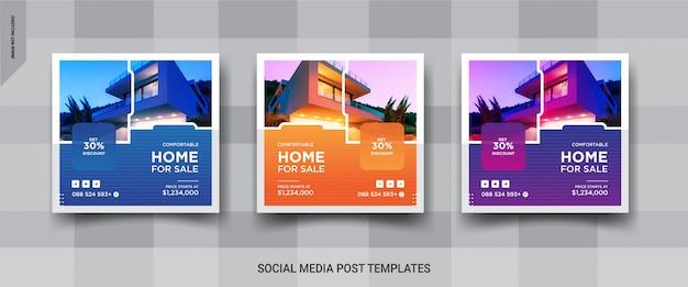 Set elegant von immobilien oder hausverkauf instagram