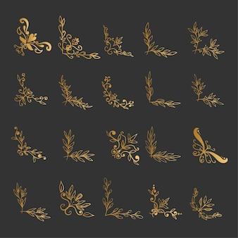 Set eleganter goldener ecken im organischen stil