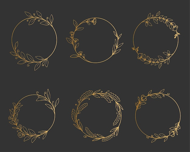 Set eleganter goldener runder rahmen