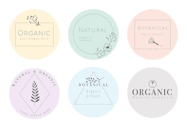 Set eleganter und luxuriöser zeichen für schönheit, naturprodukte, kosmetik, spa