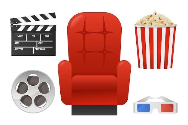 Set-elemente für das kino mit rotem stuhl, zwischenablage, popcorn, filmrolle, stereo-glas