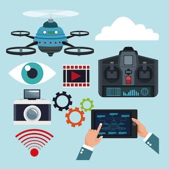 Set-elemente quadrocopter und fernbedienung drohnen