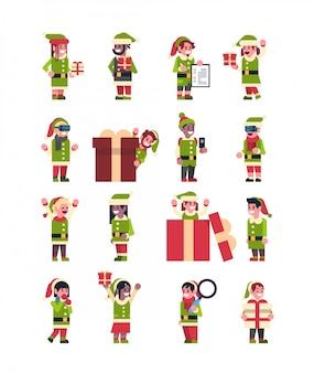 Set elfen mädchen junge weihnachtsmann helfer sammlung frohe weihnachten urlaub neujahr konzept flach isoliert