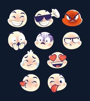 Set emoji, emoticons chat kommentar reaktionen wütend glücklich liebe kuss überraschung
