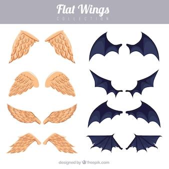 Set engel und fledermausflügel