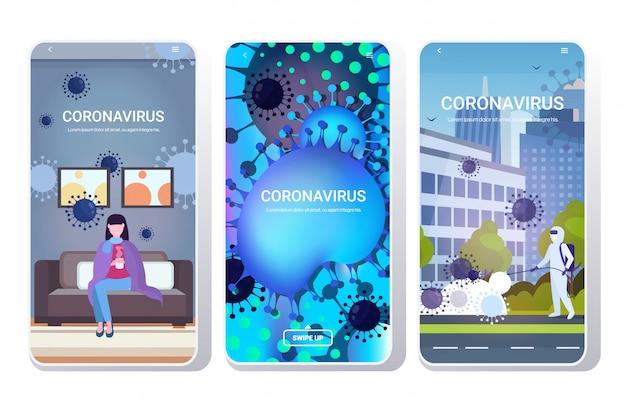 Set epidemie mers-cov-virus wuhan coronavirus 2019-ncov pandemie medizinische gesundheitsrisikokonzepte sammlung telefon bildschirme mobile app in voller länge kopierraum horizontal