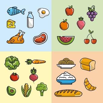 Set ernährung gemüse und früchte mit eiweiß und mehl