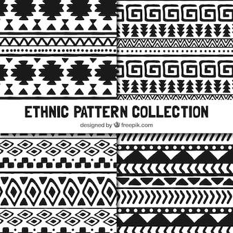 Set ethnische muster in schwarz und weiß