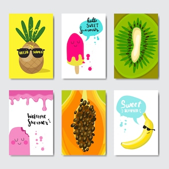 Set exotische zitrusfrüchte abzeichen isoliert typografische