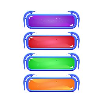 Set fantasy jelly button in verschiedenen farben für game ui asset elemente