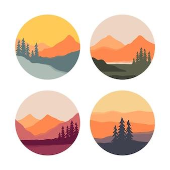 Set farbaufkleber mit bergen und fichten