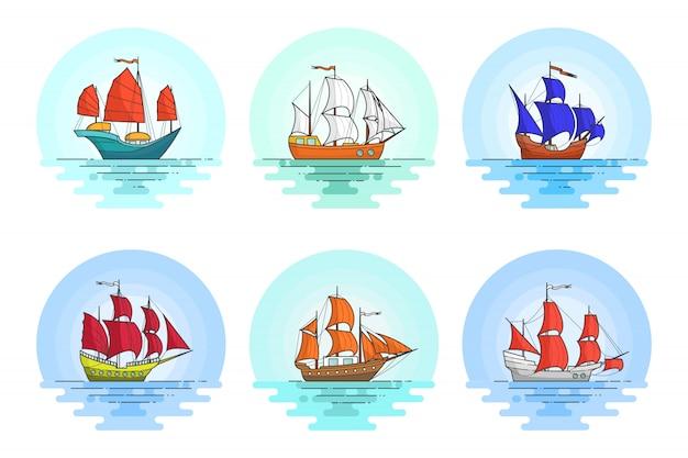 Set farbe schiffe mit segeln im meer. reisender banner mit segelboot auf wellen. abstrakte skyline. flache linie kunst. vektor-illustration konzept für reise, tourismus, reisebüro, hotels, ferienkarte