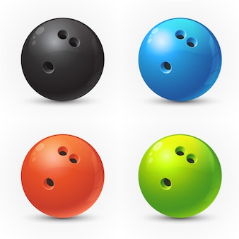 Set farbige bowlingspielkugeln
