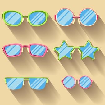 Set farbige flache gläser mit langen schatten. kettenräder, rund,