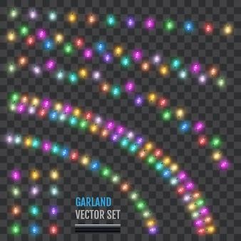 Set feiertagsgirlanden mit farbigen lampen.