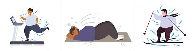 Set fette fettleibige menschen in verschiedenen posen übergewicht mix race männliche weibliche charaktere sammlung fettleibigkeit gewichtsverlust konzept