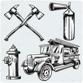 Set feuerwehrmannelemente