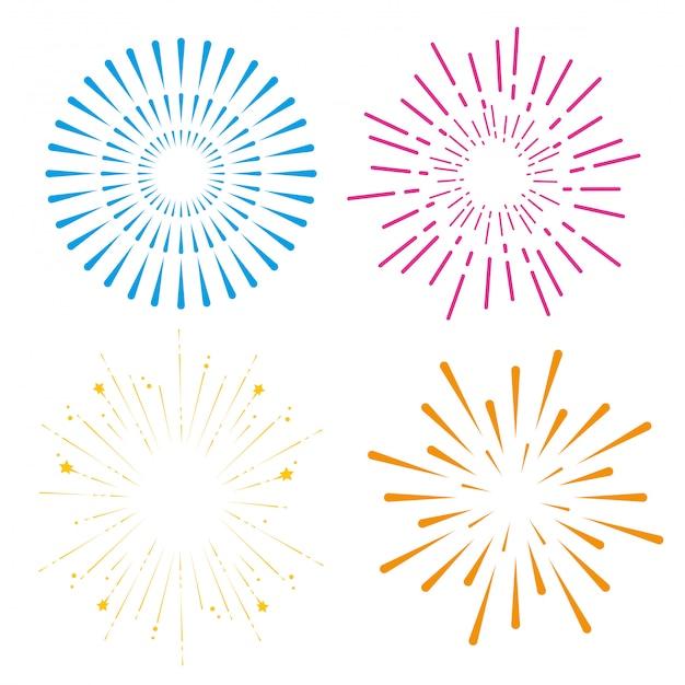 Set feuerwerk zu fröhlichen feierlichkeiten