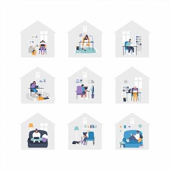 Set flache illustrationen - menschen arbeiten von zu hause aus mit laptops, pc am tisch, am sofa. home-office-konzept - menschen arbeiten von zu hause aus. remote-job während der isolation.