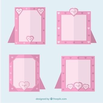 Set flache rosa rahmen mit herzen