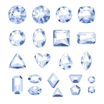 Set flache weiße juwelen. bunte edelsteine. diamanten auf weißem hintergrund.