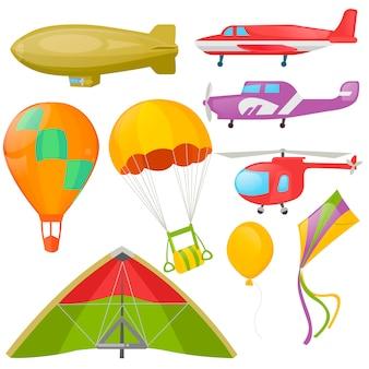 Set fliegender transport - hubschrauber, aeroplan.