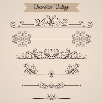 Set floral vintage ornamental filigran