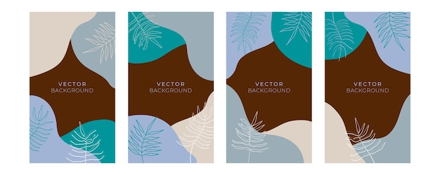 Set floraler universeller künstlerischer vorlagen mit blaugoldener pastellfarbe. gut für grußkarten, einladungen, flyer und anderes grafikdesign. quadratische blumengrußkarte