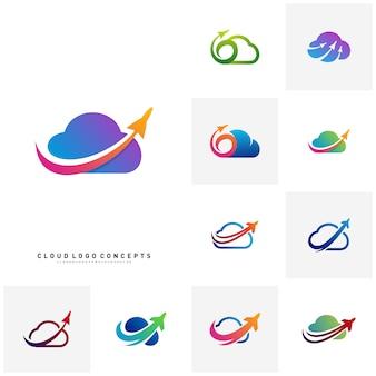 Set flugzeug-wolke logo design