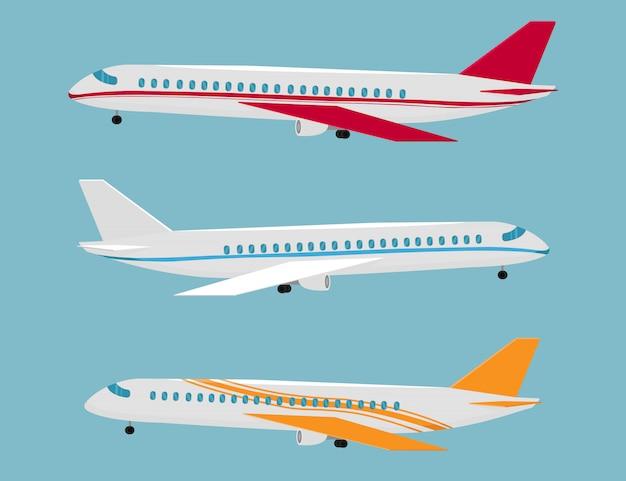 Set flugzeuge in verschiedenen farben und designs. flugzeug für flüge. flugreisen, luftfahrtflügel und landeflugzeuge