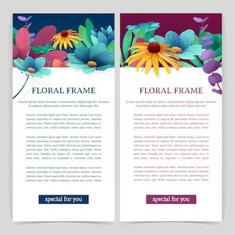 Set flyer mit blumendekor. vertikale banner mit platz für ihren text. oberer rahmen mit blüten, blättern, zweigen und pflanzen. .